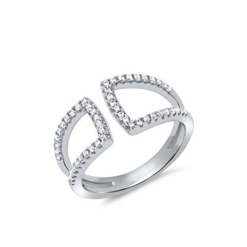 Doppelter Ring 925er Silber Zirkonia