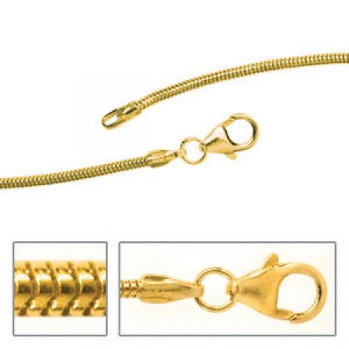Schlangenkette 1,4 mm Gelbgold Halskette Karabiner