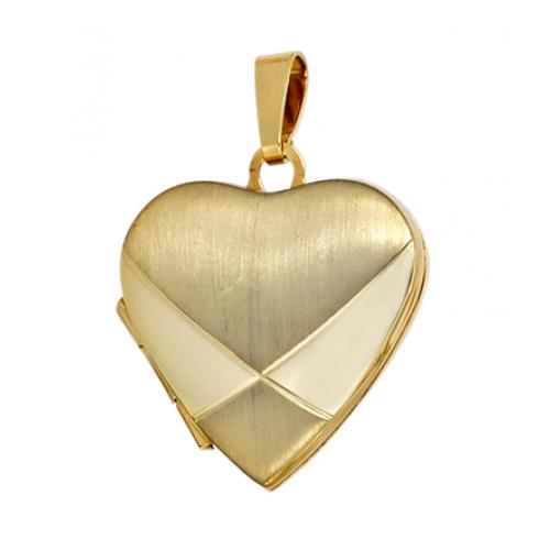Medaillon Herz 585 Gold Gelbgold teilmattiert