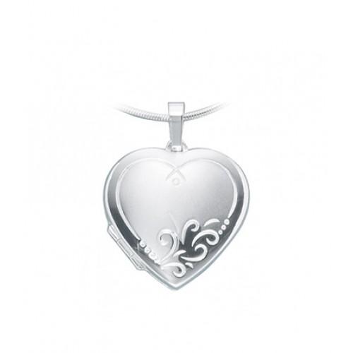 Medaillon Herz 925 Sterling Silber teilmattiert