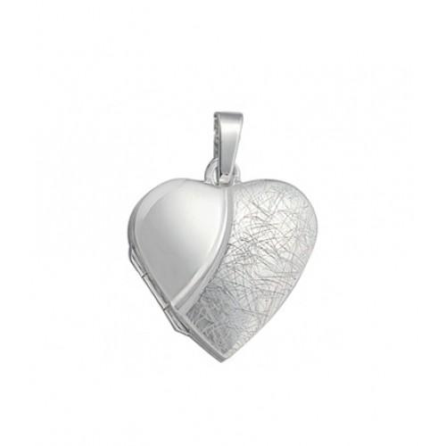 Medaillon Herz 925 Sterling Silber teileismatt