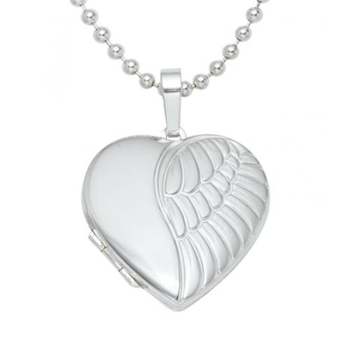 Medaillon Herz Flügel 925 Sterling Silber teilmattiert