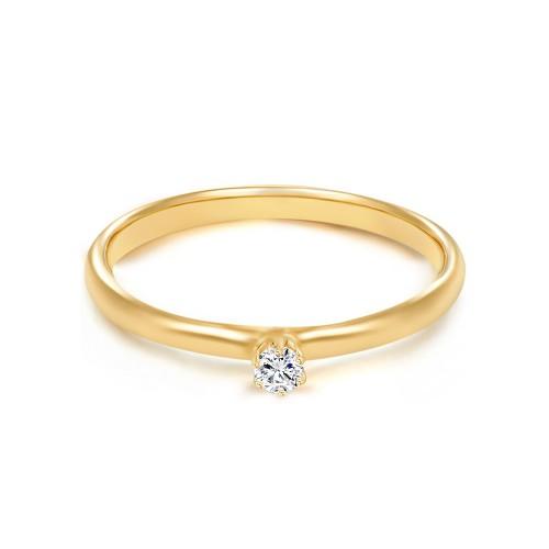 Pauline Gold - Verlobungsring mit Zirkonia (925 Sterlingsilber)