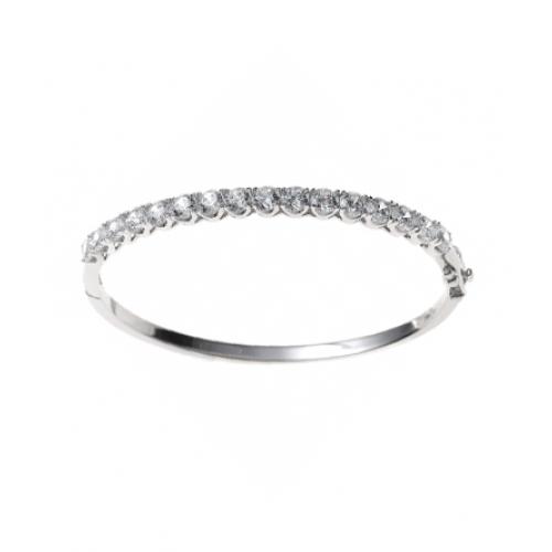 Armreif 925 Sterling Silber rhodiniert 16 Zirkonia oval Kastenschloss