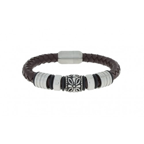 Herrenarmband -Clochard Fashion- 304& 316L stainless steel & Genuine leather 2row woven white cotton magnetic clasp