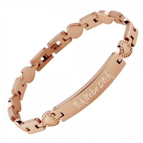 Edelstahl Armband, rosévergoldet und gravierbar