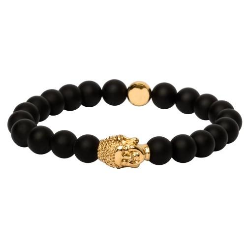 "Onyx-Armband Gold ""Bangkok"" - gravierbar"
