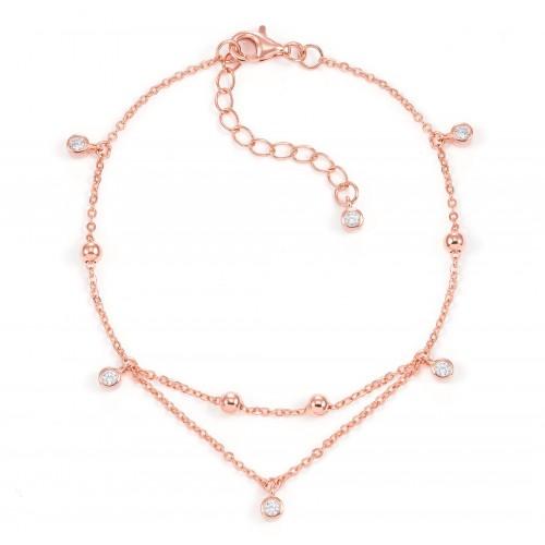 Armband Double Chain mit Zirkonia - 925 Sterlingsilber