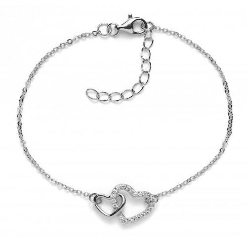 Herz-Armband Double Feeling mit Zirkonia - 925 Sterlingsilber