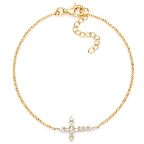 Armband Kreuz mit Zirkonia - 925 Sterlingsilber
