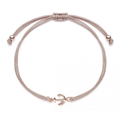 Muttertagsgeschenk - Stoffarmband Anker - 925 Sterlingsilber
