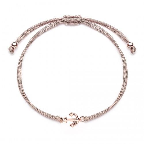 """Muttertagsgeschenk - Stoffarmband """"Anker"""" - 925 Sterlingsilber"""