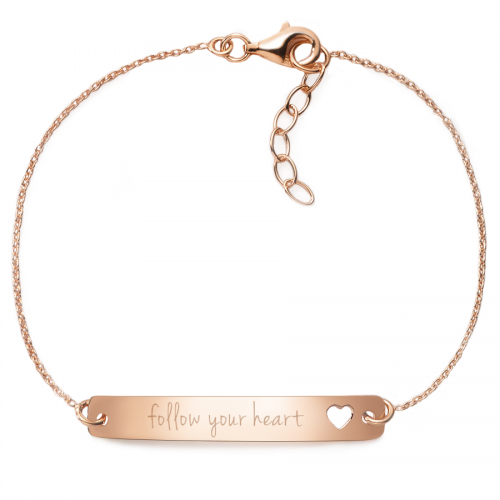 "Armband mit Gravur ""follow your heart"" - 925 Sterlingsilber | Rückseite individuell gravierbar"