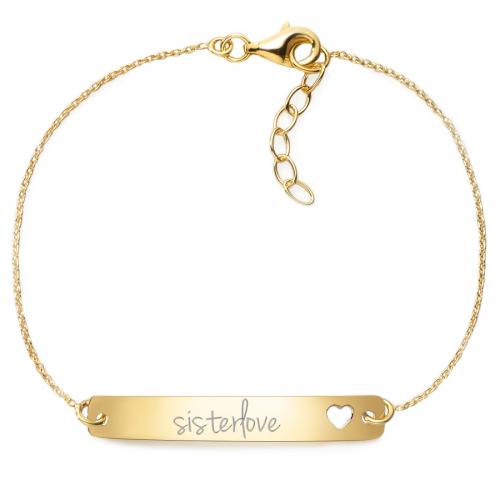 "Armband mit Gravur ""sisterlove"" - 925 Sterlingsilber   Rückseite individuell gravierbar"