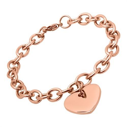 Rosévergoldetes Armband aus Edelstahl mit Herz gravierbar