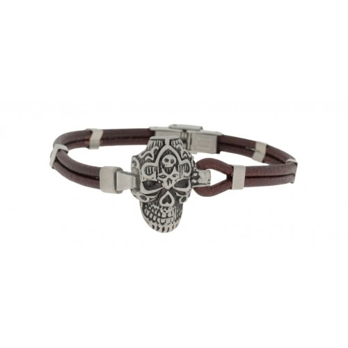 Herrenarmband -Clochard Fashion- 21cm 2row maron scar skull
