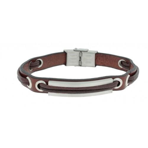 Herrenarmband -Clochard Fashion- 20cm plate rivets leather wire maron