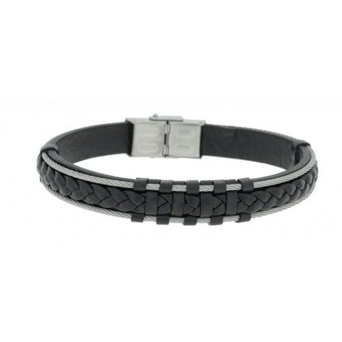 Herrenarmband -Clochard Fashion- 20cm 2 steel wire leather black