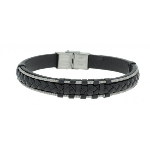 Herrenarmband -Clochard Fashion- 20cm 2 steel wire leather black