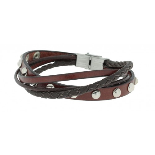 Herrenarmband -Clochard Fashion- 20cm 4row leather rivets maron