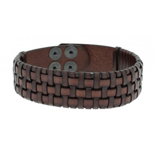 Herrenarmband -Clochard Fashion- 20cm 3row leather woven push button maron