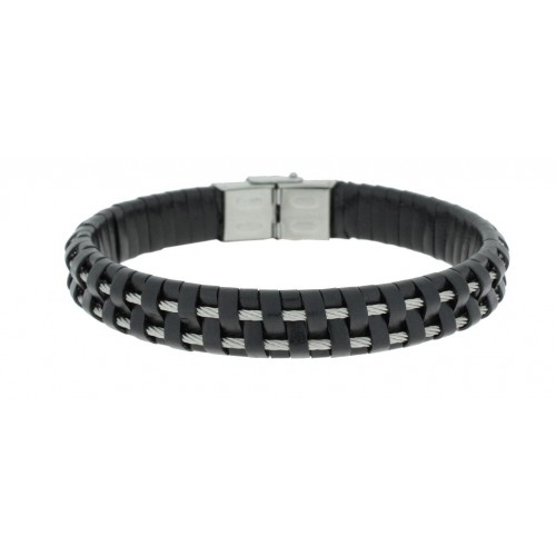 Herrenarmband -Clochard Fashion- 20cm 2steel wire centre leather black