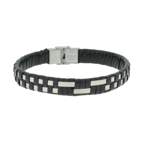Herrenarmband -Clochard Fashion- 20cm 2 steel stripes leather black
