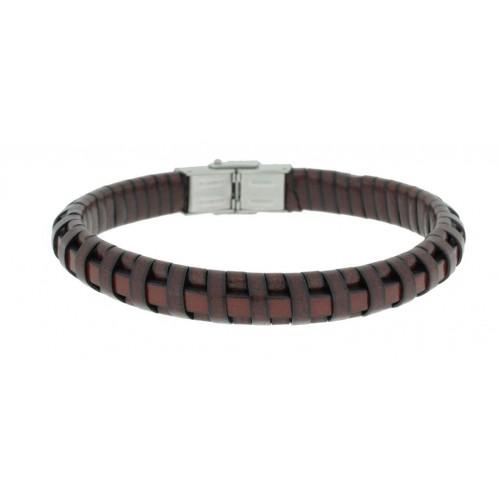 Herrenarmband -Clochard Fashion- 20cm leather maron woven