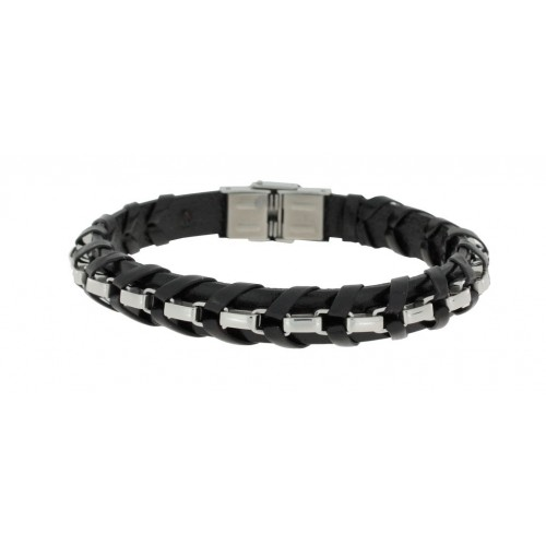 Herrenarmband -Clochard Fashion- 21cm leather black 1 chain pol.