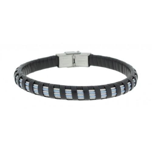 Herrenarmband -Clochard Fashion- 20cm 3white 2blue steel wire leather black