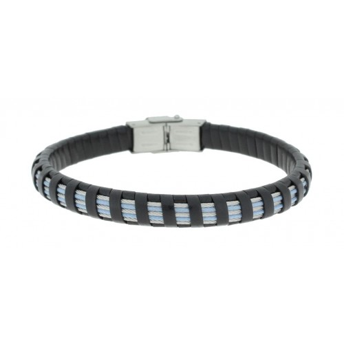 Herrenarmband -Clochard Fashion- 20cm 3white 2blue steel wire leather black