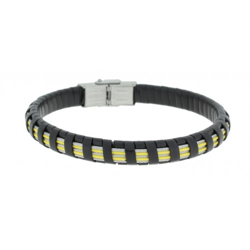 Herrenarmband -Clochard Fashion- 20cm 3white 2yellow steel wire leather black