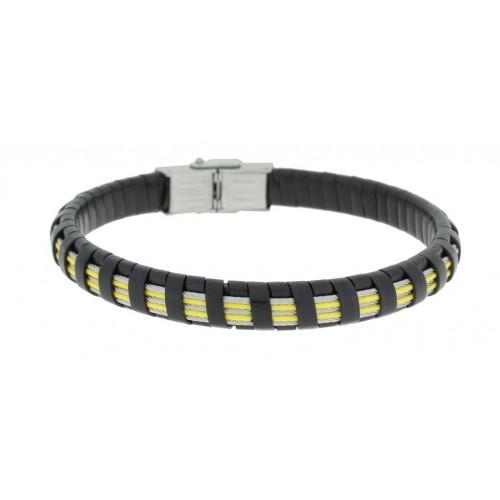Herrenarmband -Clochard Fashion- 20cm 3white 2yellow steel wire leather black