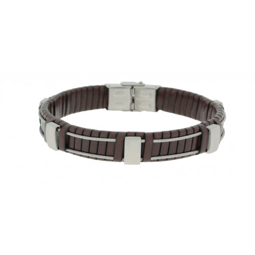Herrenarmband -Clochard Fashion- 21cm leather maron 2 steel wire