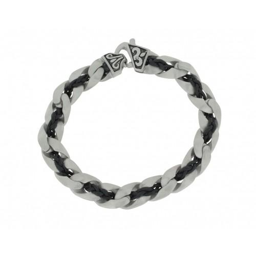 Herrenarmband -Clochard Fashion- 20cm tank chain cotton black