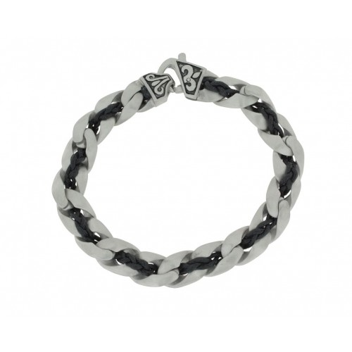 Herrenarmband -Clochard Fashion- 20cm tank chain cotton black