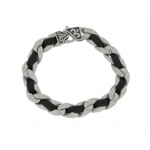 Herrenarmband -Clochard Fashion- 20cm tank chain cotton black lily clasp
