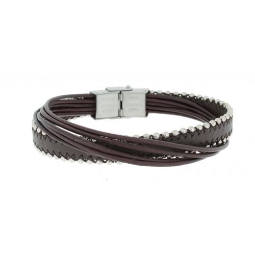 Herrenarmband -Clochard Fashion- 20cm 6row 2ball chains steel leath. maron