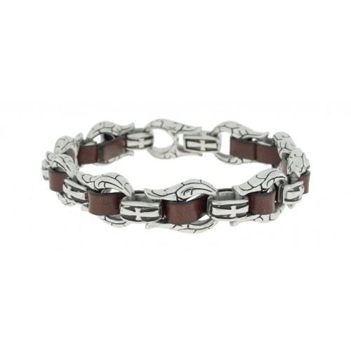 Herrenarmband -Clochard Fashion- Horse Chain Leath Maron