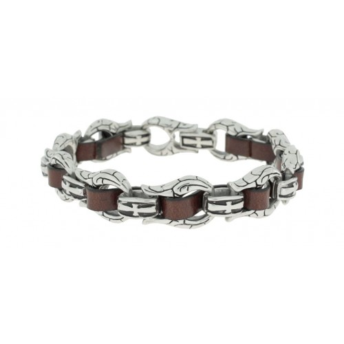 Herrenarmband -Clochard Fashion- Horse Chain Leath Maron