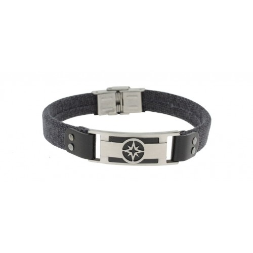 Herrenarmband -Clochard Fashion- 21cm cotton black plate wind