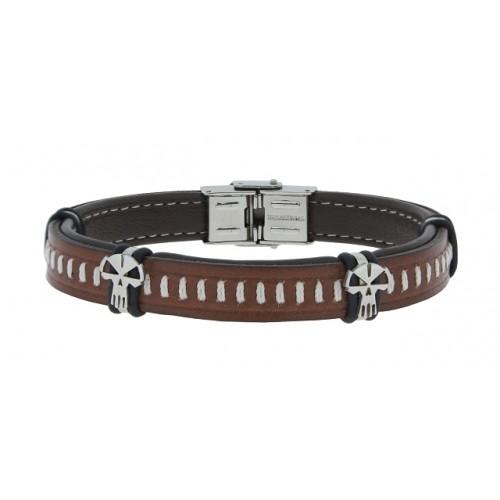 Herrenarmband -Clochard Fashion- Exclusive 21cm 10mm genuine leather black/brown stitched 2x skulls