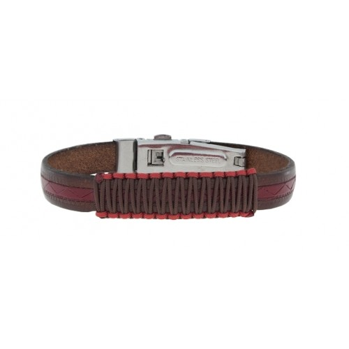 Herrenarmband -Clochard Fashion- Exclusive 21cm 10mm genuine leather brown/red w/macrame cotton