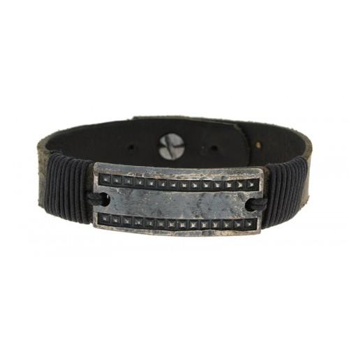 Herrenarmband -Clochard- 20cm leather black 15mm GV white