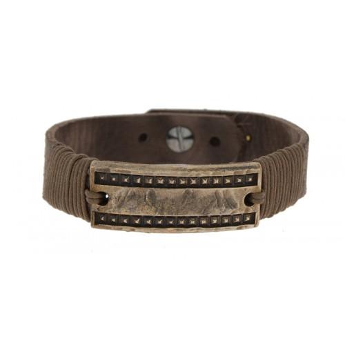 Herrenarmband -Clochard- 20cm leather brown 15mm GV copper