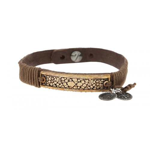 Herrenarmband -Clochard- 20cm leather brown 10mm GV croco 3 pend.