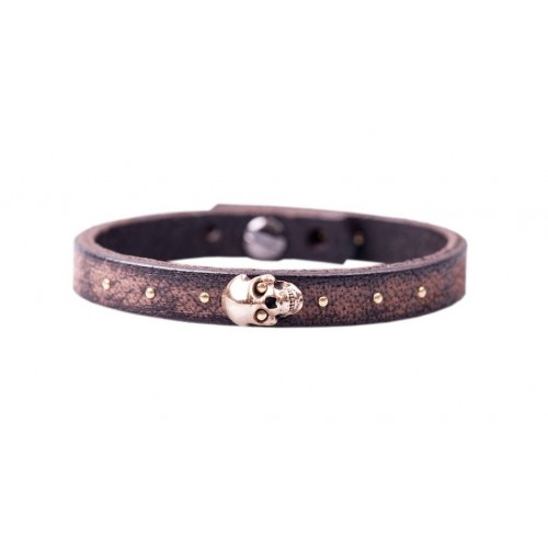 Herrenarmband -Clochard- 21cm 8mm maron skull copper
