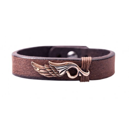 Herrenarmband -Clochard- 21cm 15mm maron wing copper