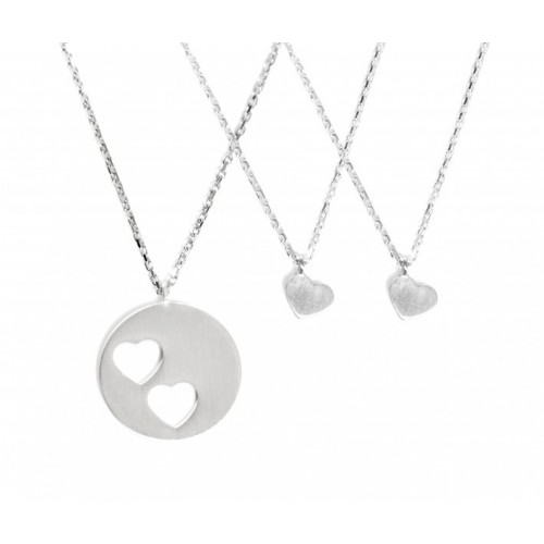 "Collier-Set ""Carry Two Hearts"" - gravierbar"