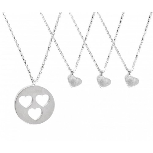 "Collier-Set ""Carry Three Hearts"" - gravierbar"
